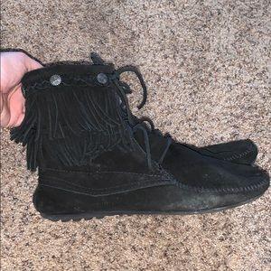 Black Minnetonka Fringe Booties